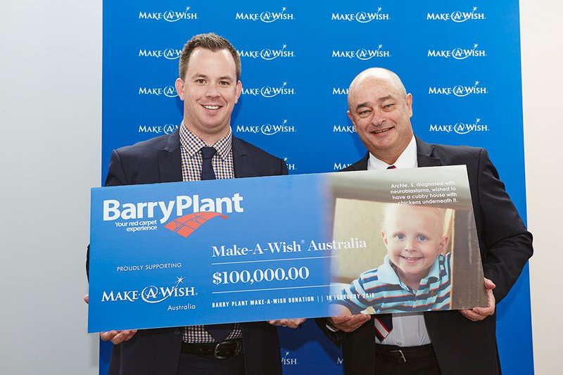 Make-A-Wish receives donation from Barry Plant